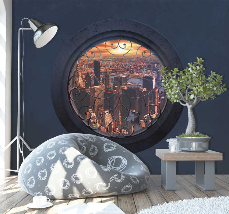 TenStickers. Round window new york skyline wall mural. 3D photomural of New York City seen through a window in the wall made of stone with a circular shape An original design for the walls of your home.