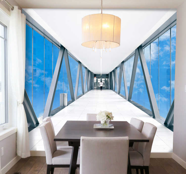 TENSTICKERS. 空の廊下3 d壁壁画. お部屋を拡大するクリエイティブで手頃な方法をお探しですか?この3d壁画を考えてみませんか?高品質の壁画!