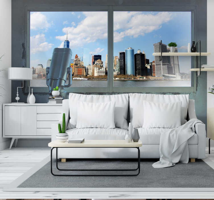 TenStickers. View point New York 3D Wall Mural. A 3D photomural of New York City with a rustic touch A window to the city through a brown stone wall and a sepia-toned image of the city.