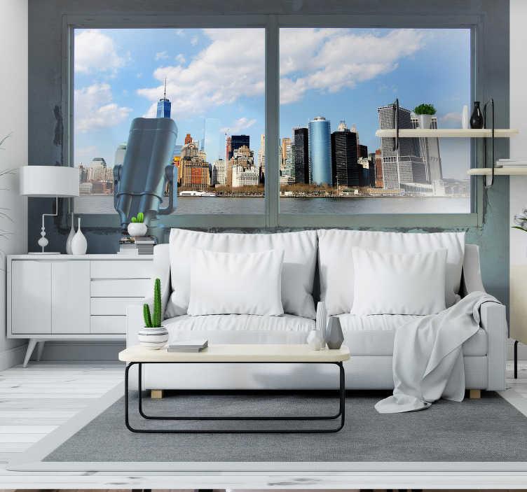 Tenstickers. Näkökulmasta new york 3d valokuvatapetti. Kolmiulotteinen fotomuoto new york -kaupungista, jossa maalaismainen koskettaa ikkunaa kaupunkiin ruskean kivimuurin ja seepiasävyisen kuvan kautta.