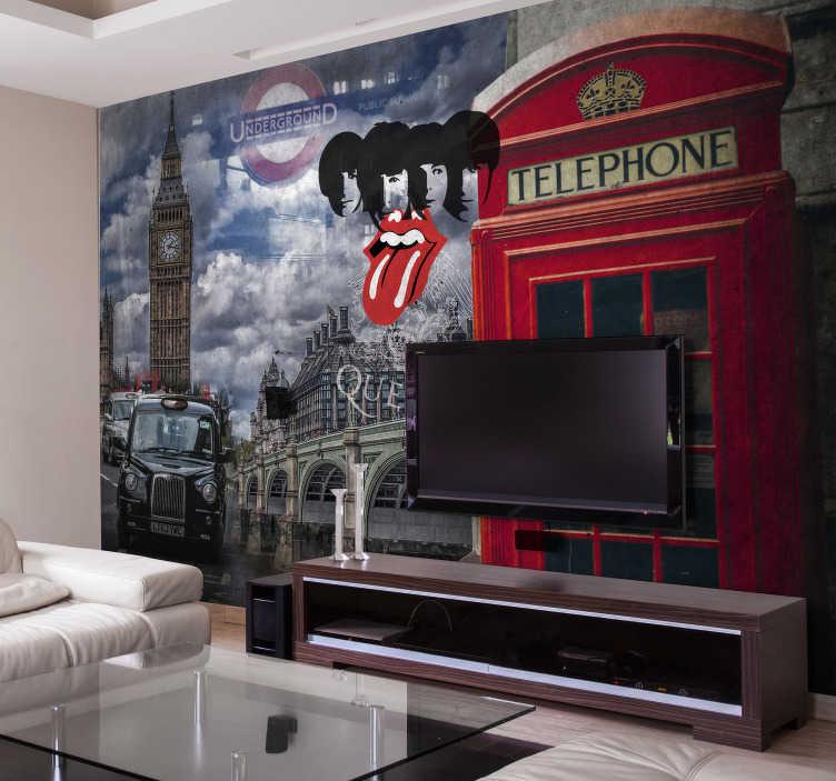 TenStickers. Collage di murale di londra. Decora la tua casa con questo fantastico murale londinese! Questo design è pieno di tutte le cose di londra! Questo murale è perfetto per aggiungere quel tocco finale