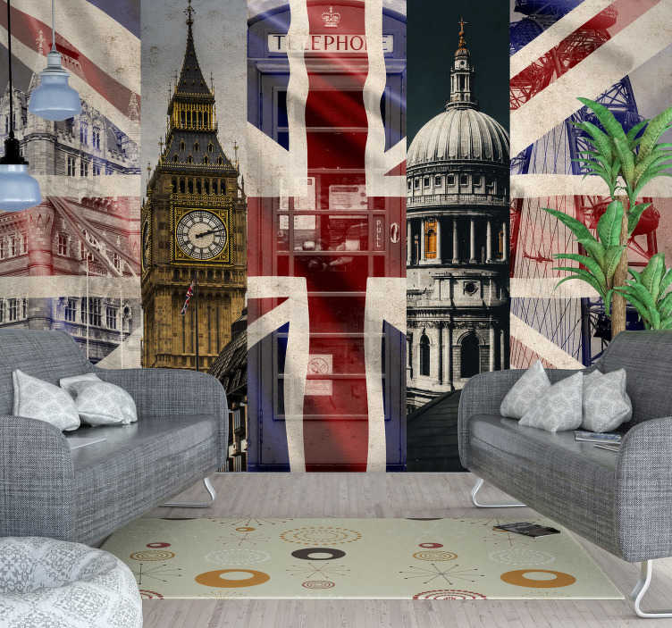 TenStickers. Union Jack London Wall Mural. If you're looking to add something a little bit British to your walls then what could be more perfect than this London wall mural?