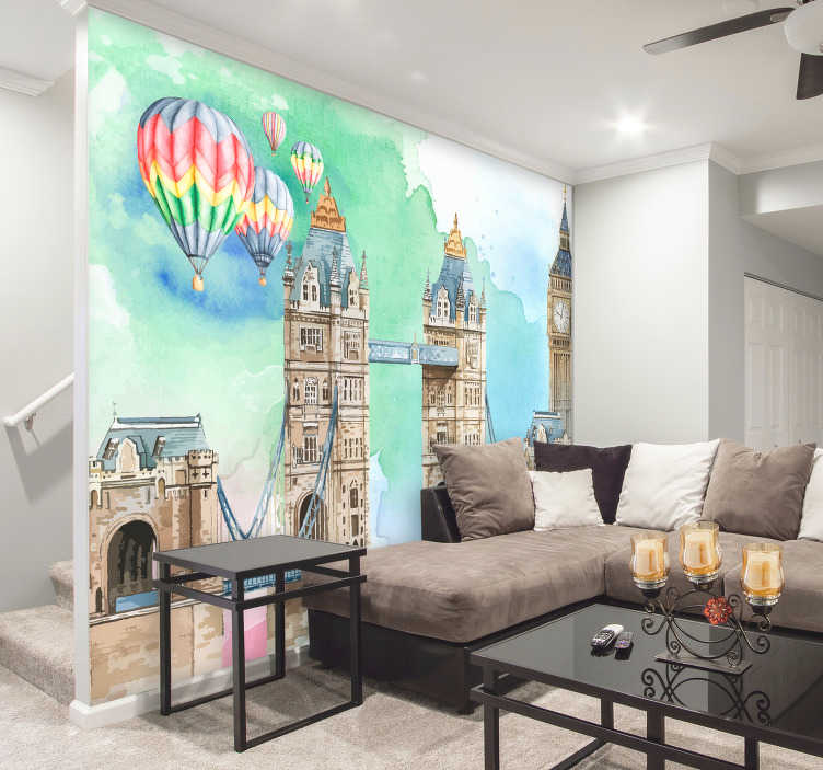 TenStickers. Balloon over Tower Bridge London wall Murals. This London wall mural is just the thing you've been searching for! Splashes of colours decorate the white space, making it more colourful and unique