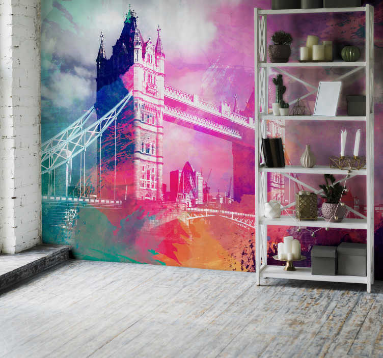 TenStickers. On the Thames London City wall mural. Travel to the Thames with this fun and exciting London wall mural! Featuring the iconic Tower Bridge, it is sure to please and satisfy your needs