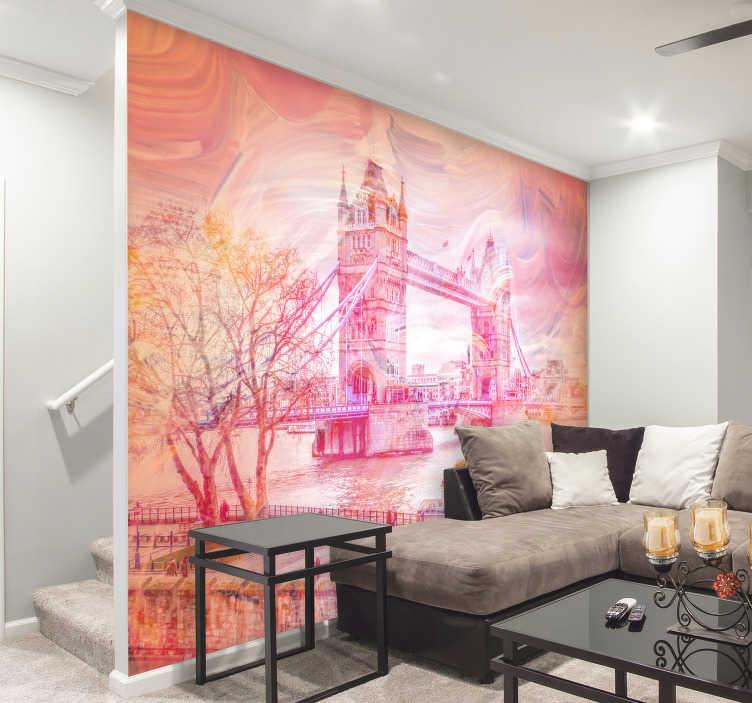 TenVinilo. Fotomural Tower Bridge Londres Pintado. Increíble fotomural de la Tower Bridge de Londres pintada en acuarela para decorar las paredes de tu hogar o negocio de un modo diferente.