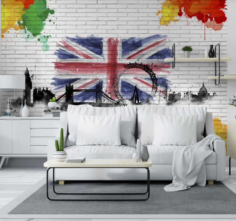 TenStickers. Wall art abstract City wall mural. London Photomural with a magnificent composition of the flag of the United Kingdom A top quality product, easy to place in your home.