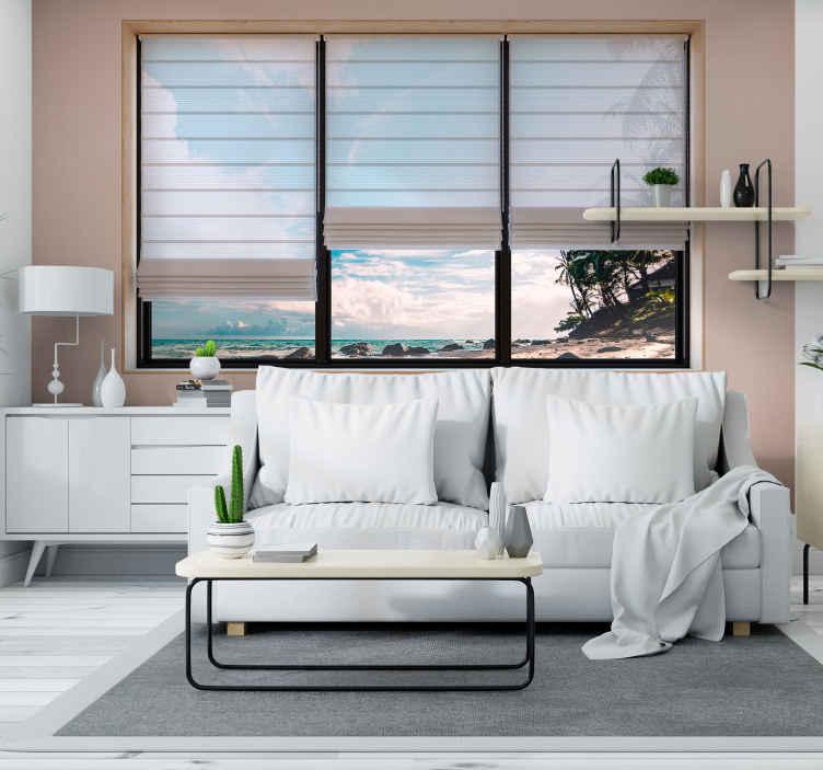 TenStickers. 3d-effekt strandmaleri tapet. Forvandle dit hjem til en smuk strandferie med denne fantastiske 3d-vægmaleri på stranden. Gratis verdensomspændende levering nu!