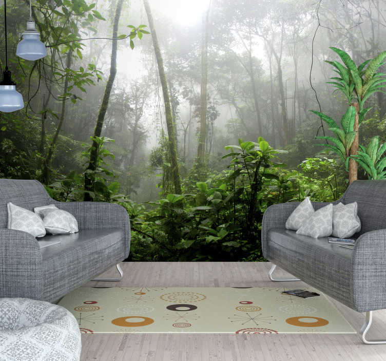 TenStickers. Dark jungle Forest Wall Mural. If you need to get away from the hustle and bustle of the city and work life you can do it with this fantastic forest wall mural!