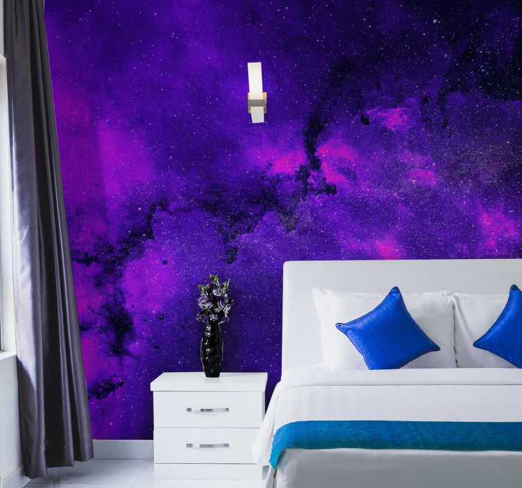 TenStickers. Nebula in purple wall Mural. Why not consider decorating with this unique and originial purple wall mural. Featuring a stunning nebula in outer space