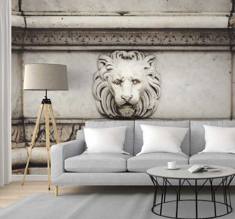 TenStickers. 3D stone lion Art Wall Mural. A unique and original classic art wall mural. Taking inspiration from classic statues from around Europe, this design will add originality into a room