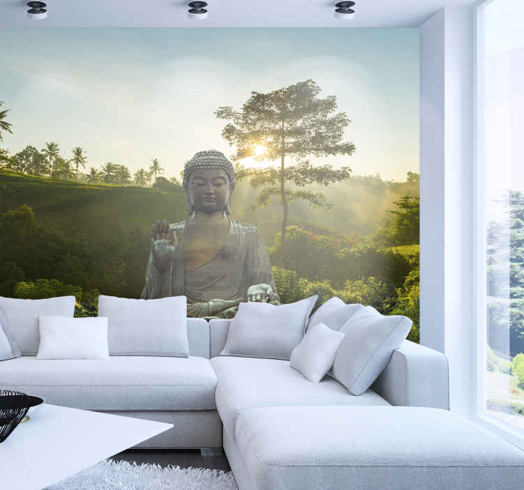 TenStickers. Buddha meditating in nature landscape wall mural. When you have finally recieved and applied your Buddha wall mural you will feel nothing but peacefulnesss and happiness upon looking at your new mural