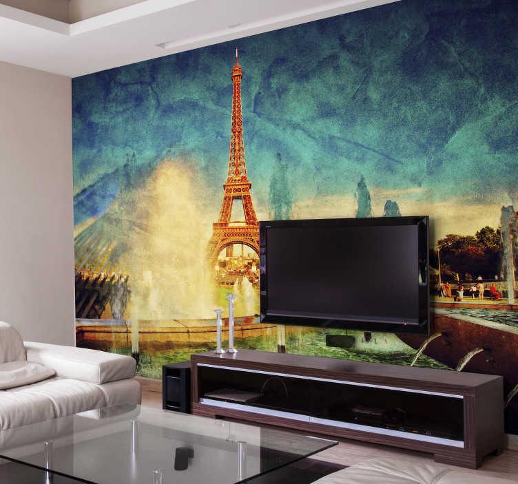 Tenstickers. Eiffel-torninäkymät kaupungin seinämaalaus. J'adore pariisi! Jos sinulla on ihailua tähän kuuluisaan maamerkkiin tässä rakkauden kaupungissa, tämä pariisin seinämaalaus on oikealla tien varrella!