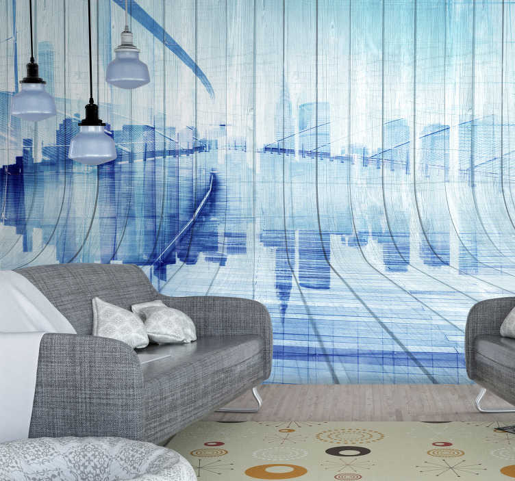 TenStickers. Wood effect city skyline City wall mural. A stunning wood effect wall mural of a mock city skyline. Coloured in a shade of lovely blue to add a unique and exciting pop of colour