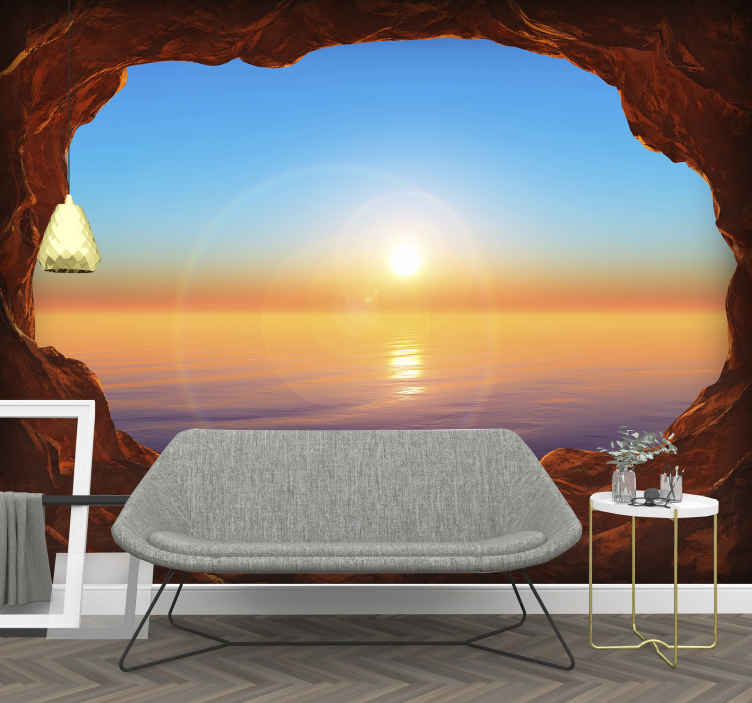 TenStickers. View to the sea through a cave 3D Mural Wallpaper. Wow it almost feels like I'm in the cave, gazing out to the stunning scene of a sun setting over the sea. This 3D wall mural will transform your home