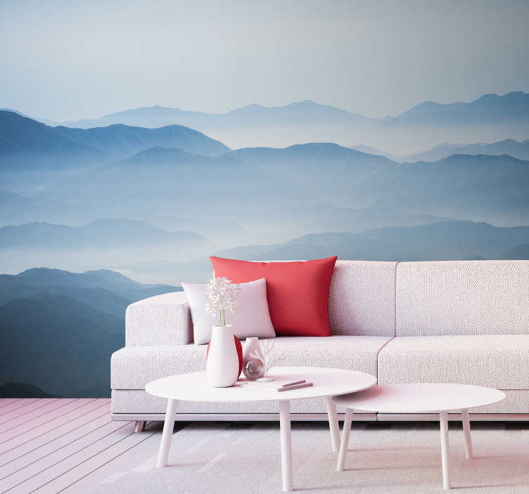 TenStickers. Misty mountain landscape wall mural. A mysterious yet gorgeous mountain wall mural for your home. You can just about see the peaks of each mountain in this beautiful design