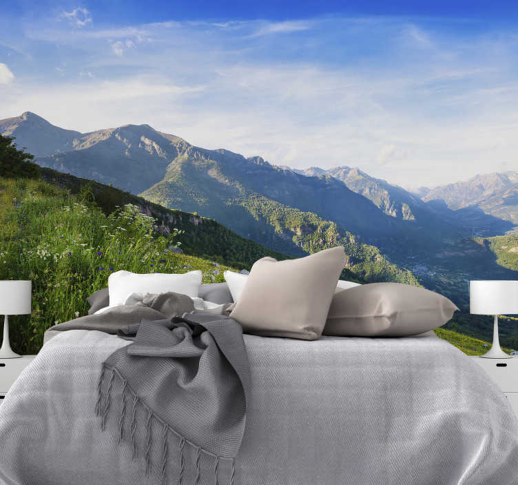 TenStickers. Mountain views landscape wall mural. This mountain wall mural is a breath of fresh air! Stunning rolling hills, perfect for your room and home! You could spend the whole day looking at it