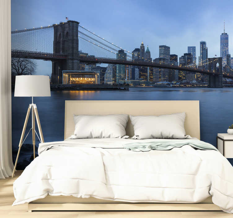 TenStickers. Manhattan view New York skyline wall mural. let this view of New York give your room brand new look with this New York wall mural. You'll feel inspired everytime you look at this mural