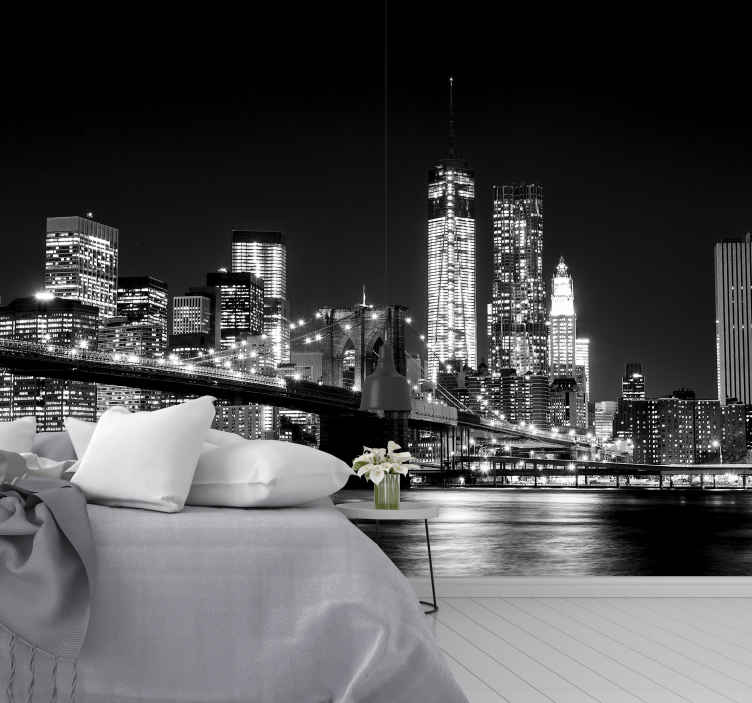 TenStickers. New york East river new york skyline wall mural. What could be more picturesque than the East river in New York city?  This black and white New York wall mural is perfect for you.