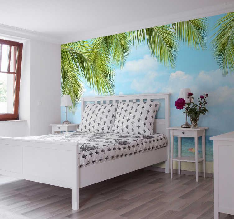 TenStickers. 海滩风景景观墙壁画. 啊,我很想现在就在沙滩上享受日光浴和放松。无法去海滩?取一张沙滩墙壁画