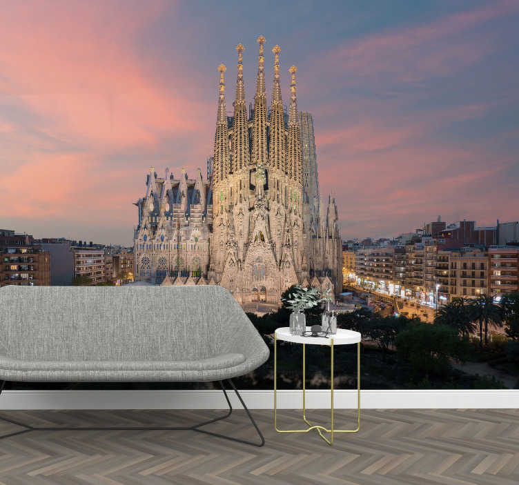 TenStickers. Sagrada Familia Barcelona photo mural. erhaps you are saving up for that trip to the city, so for now why not decorate with this Barcelona wall mural. Easy to apply!