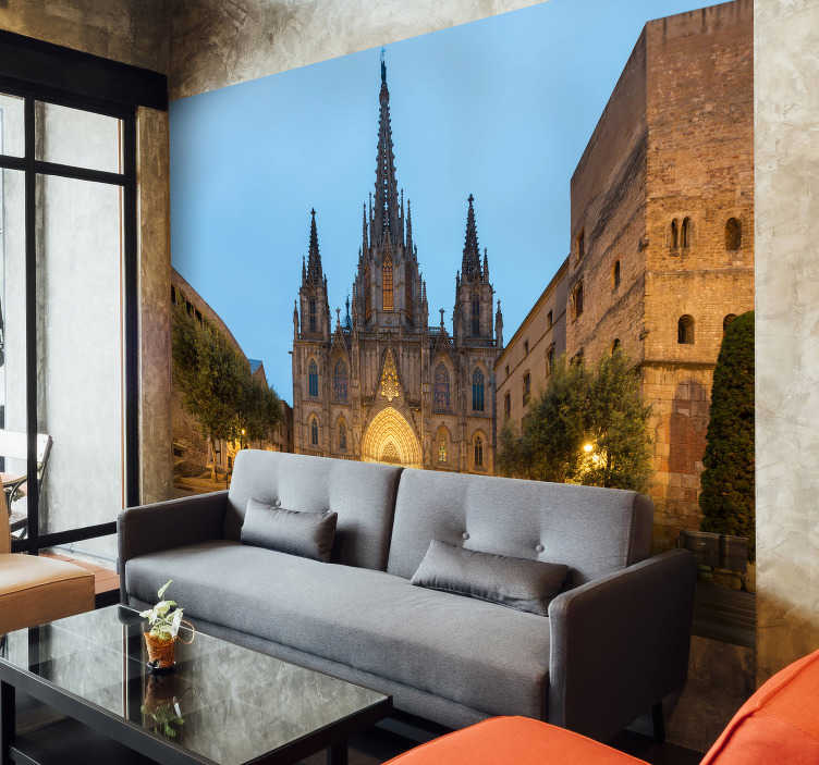 TenStickers. Barcelona cathedral Lounge Photo Wallpaper. Exclusive photomural Barcelona of the Cathedral at sunset with which you can enjoy wonderful views of one of the most emblematic buildings.