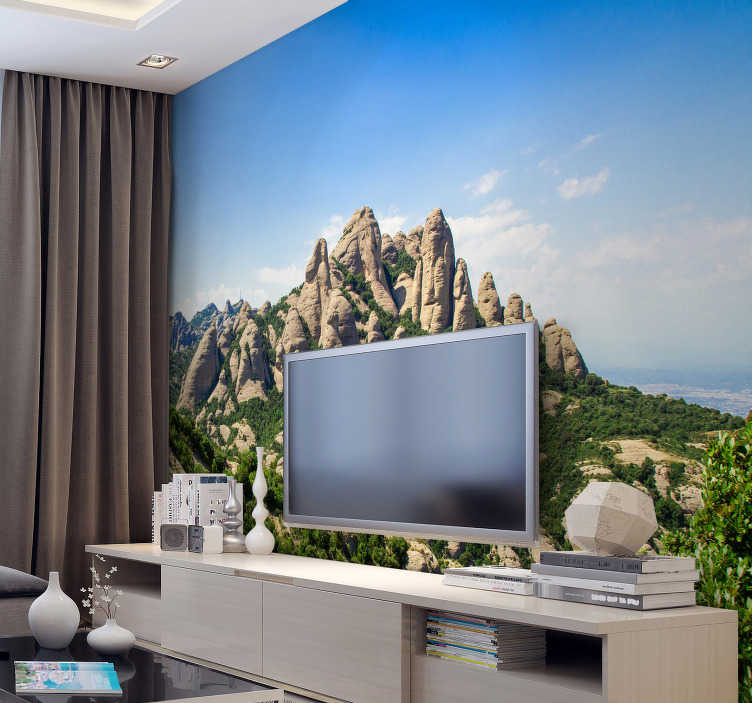 TenStickers. Barcelona Montserrat City wall mural. Incredible photomurl of Montserrat with which you will decorate your house with style with one of the most beautiful mountains of Spain.