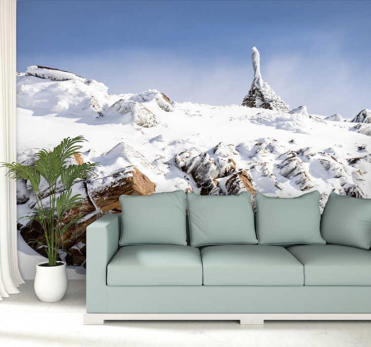 TenStickers. Besneeuwde Sierra Nevada bergen berg muurschildering. Word verliefd op de bergtoppen van Sierra Nevada met deze bergwand. We zijn er trots op dat we muurschilderingen van hoge kwaliteit leveren tegen lage prijzen