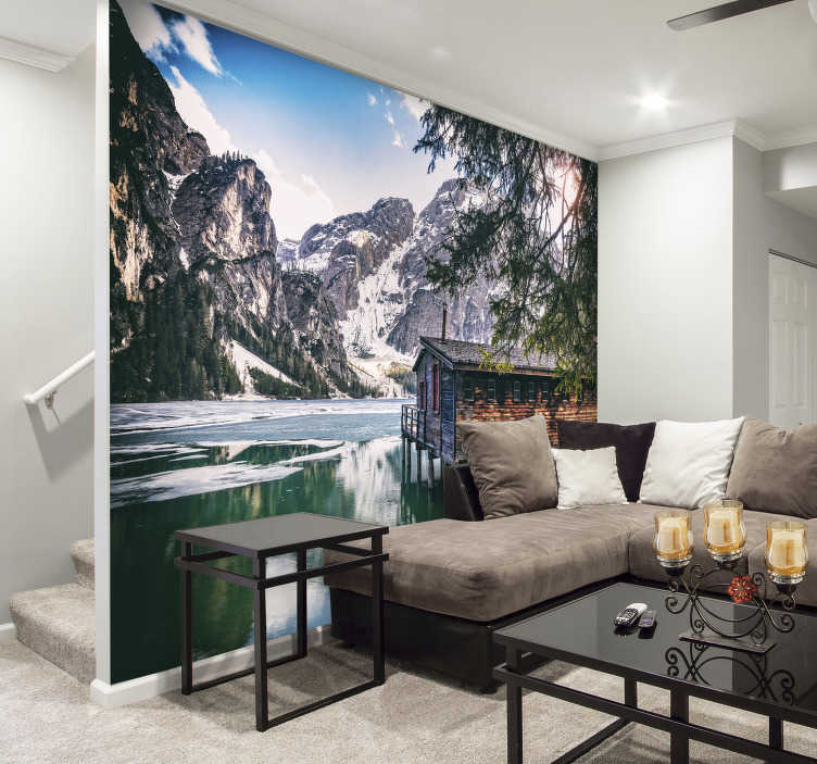 TenStickers. Braies lake landscape wall mural. Want to escape to the moutains? Do it with this absolutely stunning lake wall mural. This image is of lake Braies in Italy, right up in the North!