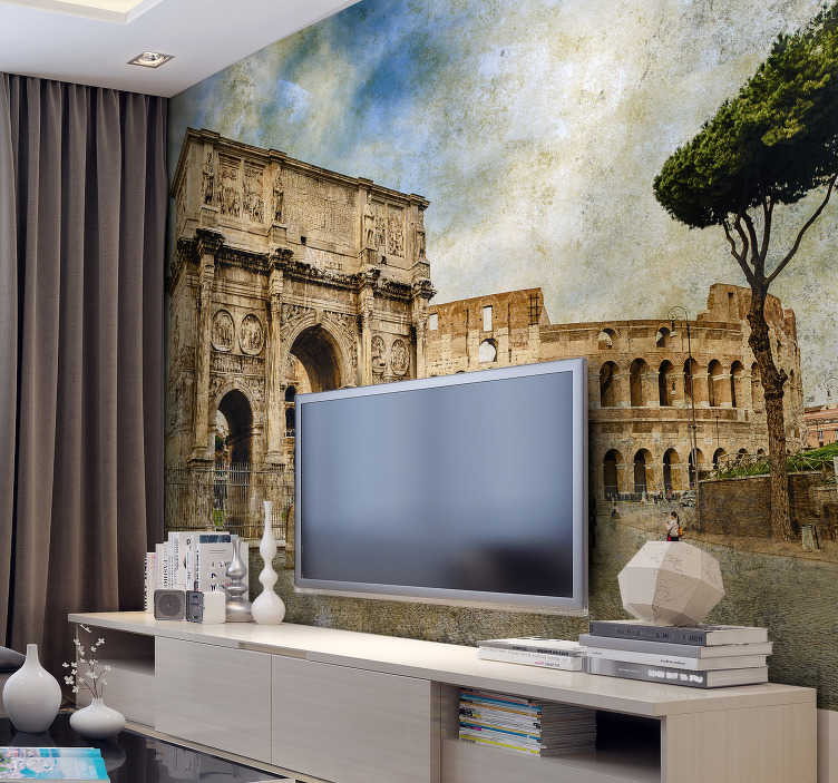 TenStickers. Arch of Constantine Italy mural wallpaper. Explore the famous land marks of Rome with this Italy wall mural! A sight to see, the Arch of Constantine is featured in this stunning wall mural