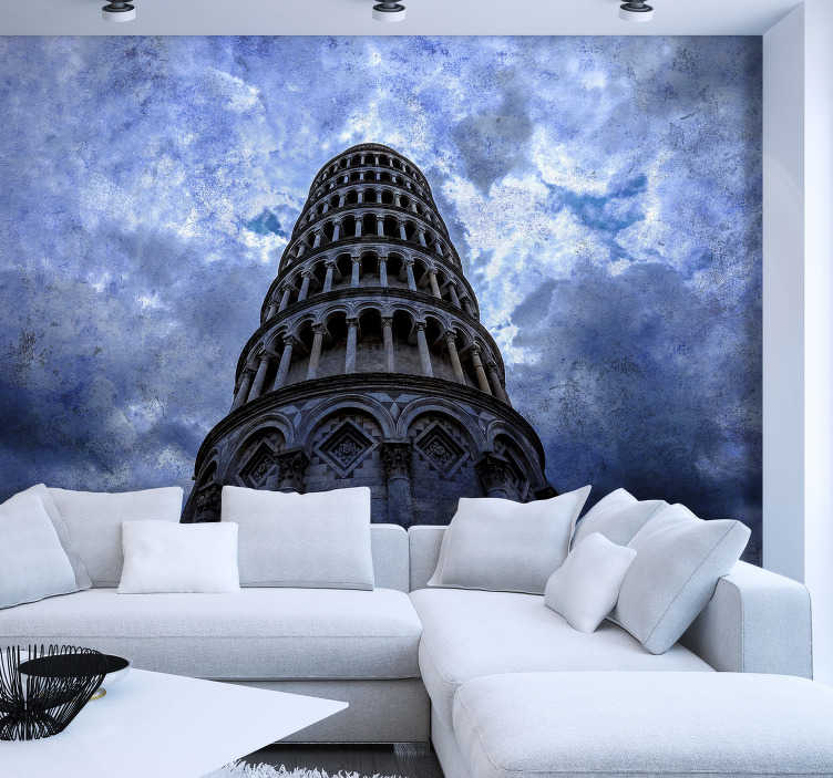 TenStickers. Tower of Pisa mural wallpaper. Take a trip to Pisa to see the beautiful Leaning tower of Pisa thanks to this Italy wall mural! A design full of emotion and life.