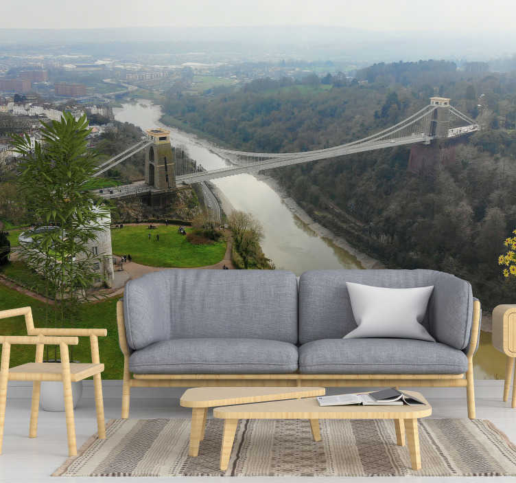 TenStickers. Bristol Clifton bridge mural wallpaper. The great city of Bristol in England has a beautiful bridge that you can admire in this scenery photo mural. Apply it on every wall in your home!