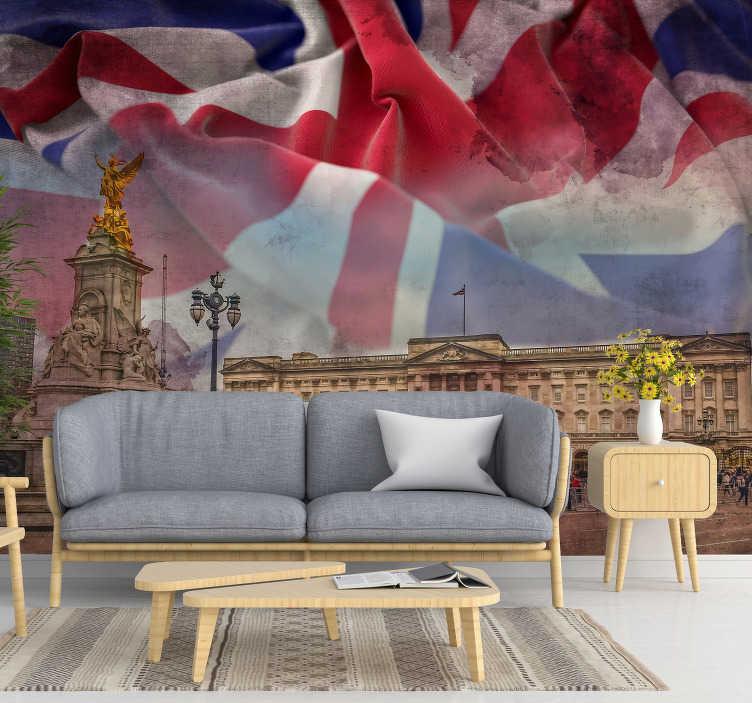 TenVinilo. Fotomural Londres Buckingham Palace. Maravilloso fotomural de ciudad de Londres en Buckingham y con la bandera de Gran Bretaña para que decores tu casa de forma original. Fácil de aplicar