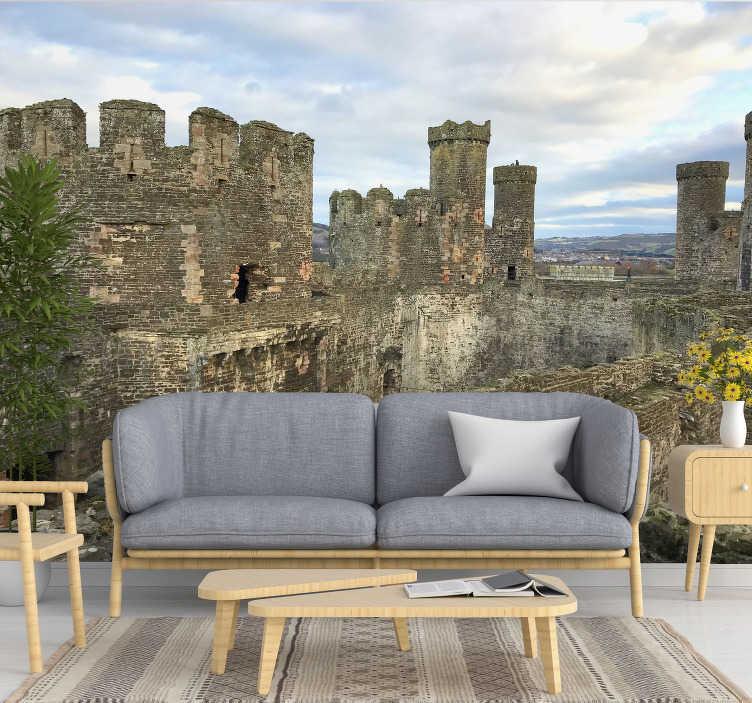 TenStickers. Conwy Castle Landschaft tapete. Fantastische Fototapete von Conwy Castle in England, damit Sie eine Dekoration genießen können, die Sie nicht aufhören können anzuschauen.