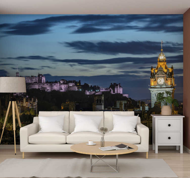 TenStickers. Edinburgh at night mural wallpaper. The most beautiful city in the world and capital of Scotland is now available on a photo wallpaper.  Apply it on every wall in your home or work!