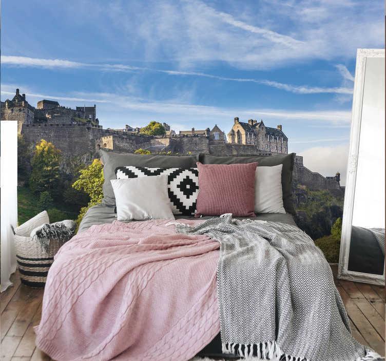 Tenstickers. Edinburgh slott veggmaleri bakgrunnsbilde. Reis tilbake til alderen med slott og riddere med denne edinburgh slott veggmaleri som skildrer slottet og de vakre omgivelsene