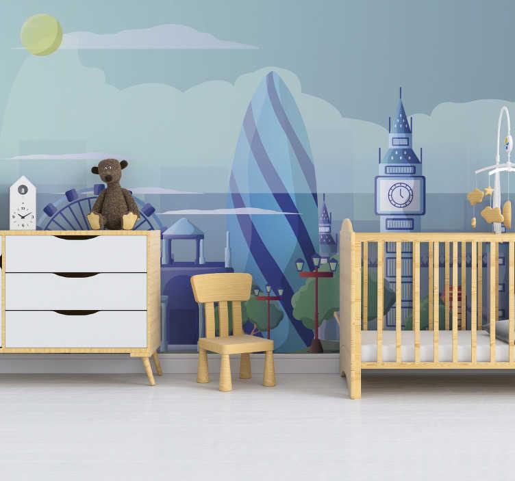 TenStickers. Stenski fres za otroško spalnico v londonu. Pustite domišljiji vašega otroka, da se razgrne s tem stenskim zidnim muralom, da si bodo lahko predstavljali znamenito mesto in vse super stvari, ki bi jih lahko storili tam!