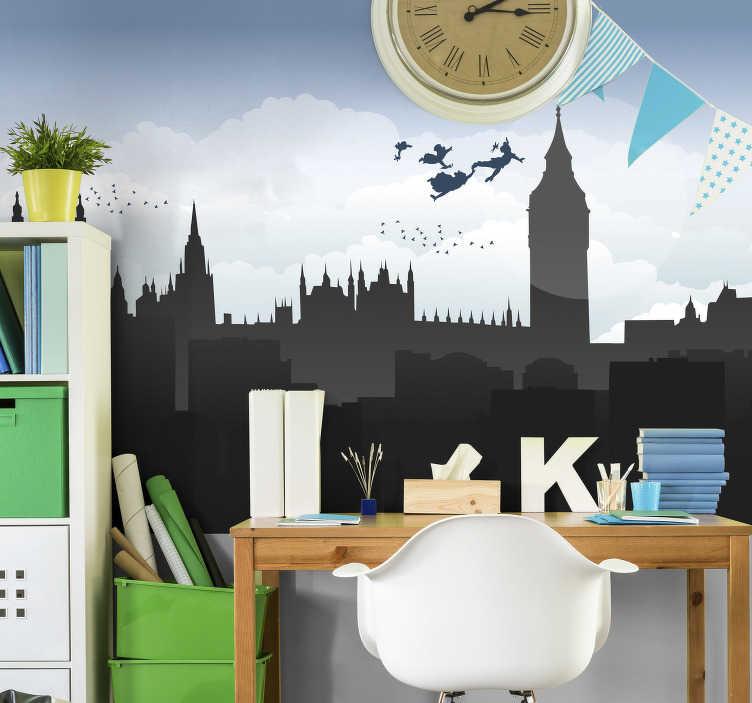 TenStickers. Londen's stadsmuur voor kinderen. Op zoek naar een manier om de kinderkamer op een unieke en leuke manier te decoreren? Deze muurschildering in londen is precies wat je nodig hebt. Eenvoudig aan te brengen!