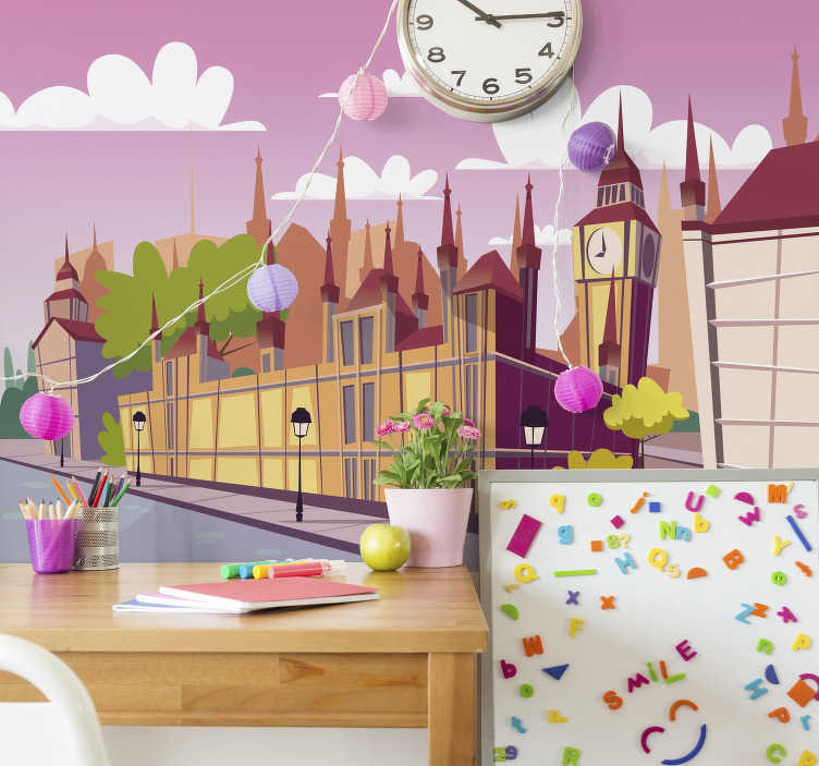 TenStickers. Kid's pink London City wall mural. If you're looking for a fun, creative, UK themed wall mural for your kid's room then this London wall mural is right up your street.