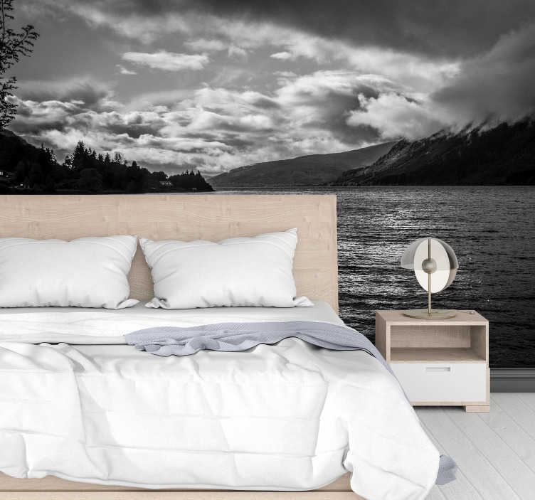 TenStickers. Loch Ness at sunrise landscape wall mural. Apply this lake wall mural in your home and you'll see why people love both Nessie and the views. A stunning black and white mural