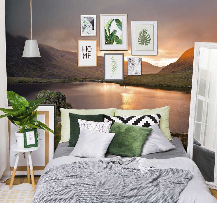 TenStickers. Snowdonia national park mountain wall mural. Perhaps one of the most beautiful areas of Wales, this mountain wall mural features an image of one of the many lakes in the Snowdonia national park