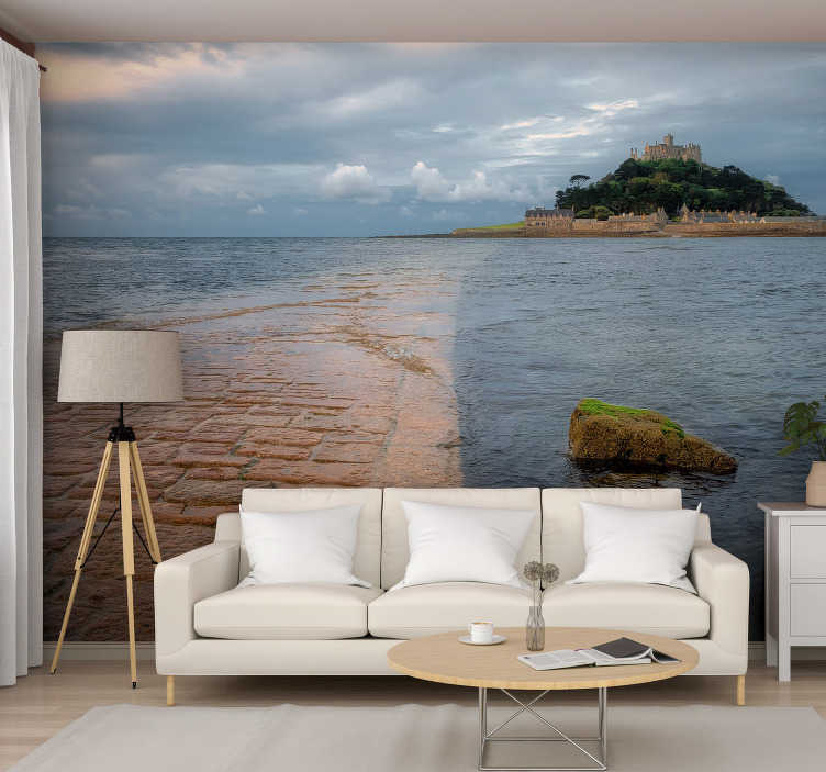 TenStickers. St Micheals Mount Cornwall landscape mural wallpaper. Escape to the stunning Cornish landscape of St Micheal's Mount. Such a unique place this landscape wall mural will add originality to your home