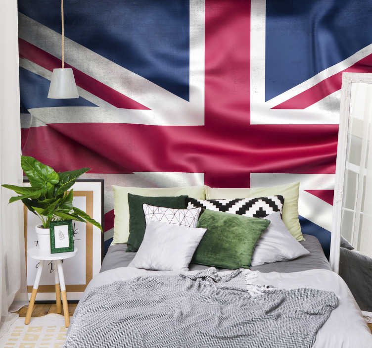 TenStickers. Union Jack flag City wall mural. Fantastic photomural of London with the flag of the United Kingdom that now you can enjoy from your own home if you are a lover of this city.