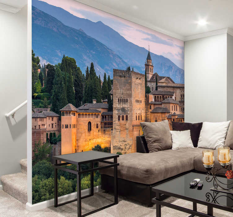 TenStickers. Alhambra de Granada mural wallpaper. Photomural wall of the Alhambra in Granada with which you can decorate your house with this wonderful place. All our design is matt finished.