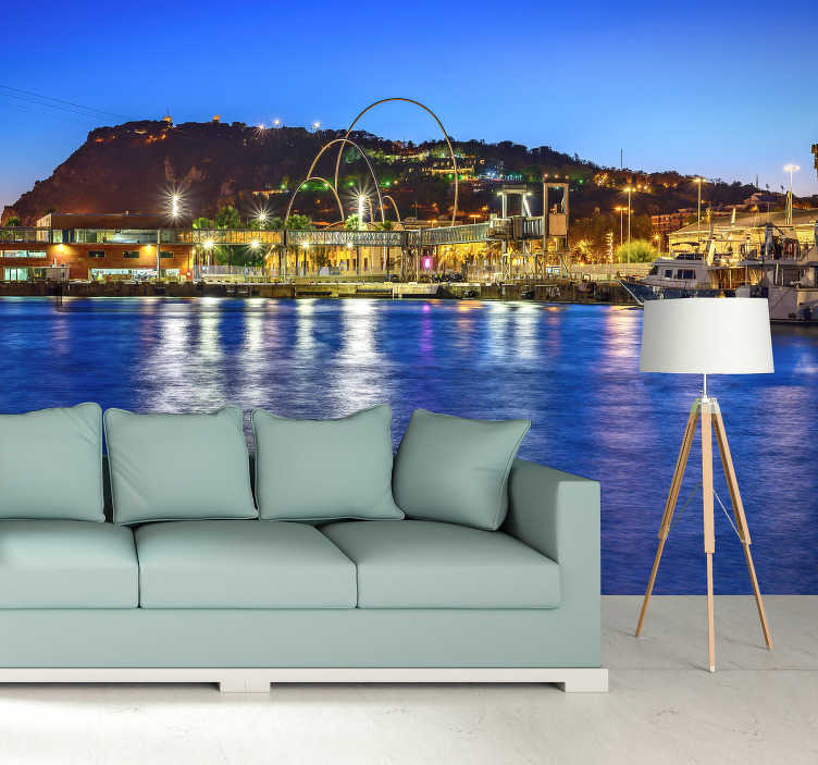 TenStickers. Barcelona atardecer Montjuic Lounge Photo Wallpaper. Fantastic photomural wall of Barcelona with which you can decorate your house with beautiful views of Barcelona. Enjoy now this magnificent design!