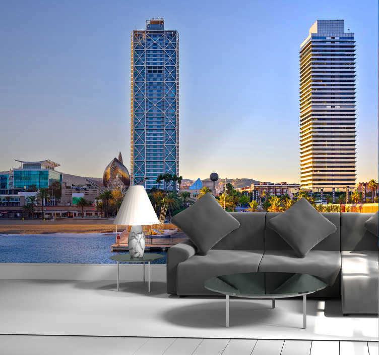 TenStickers. Puerto Olímpico Barcelona Lounge Photo Wallpaper. Original photomural bedroom in Barcelona overlooking the two iconic towers of the Olympic Port with beautiful lights of a sunset.