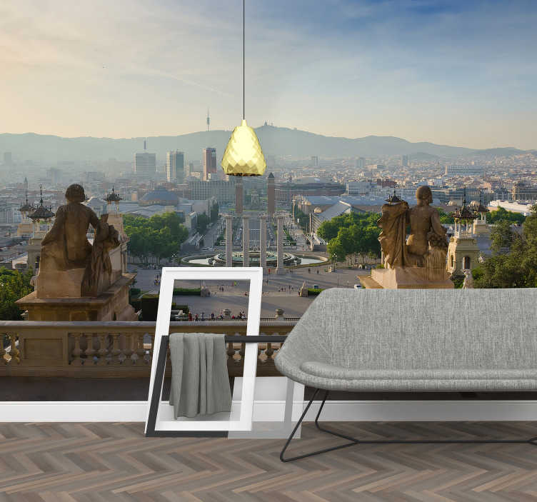 TenStickers. Barcelona fountain Montjuic Lounge Photo Wallpaper. Fantastic wall mural for bedroom or living room overlooking the magic fountain of Montjuic and the whole city seen from the National Art Museum