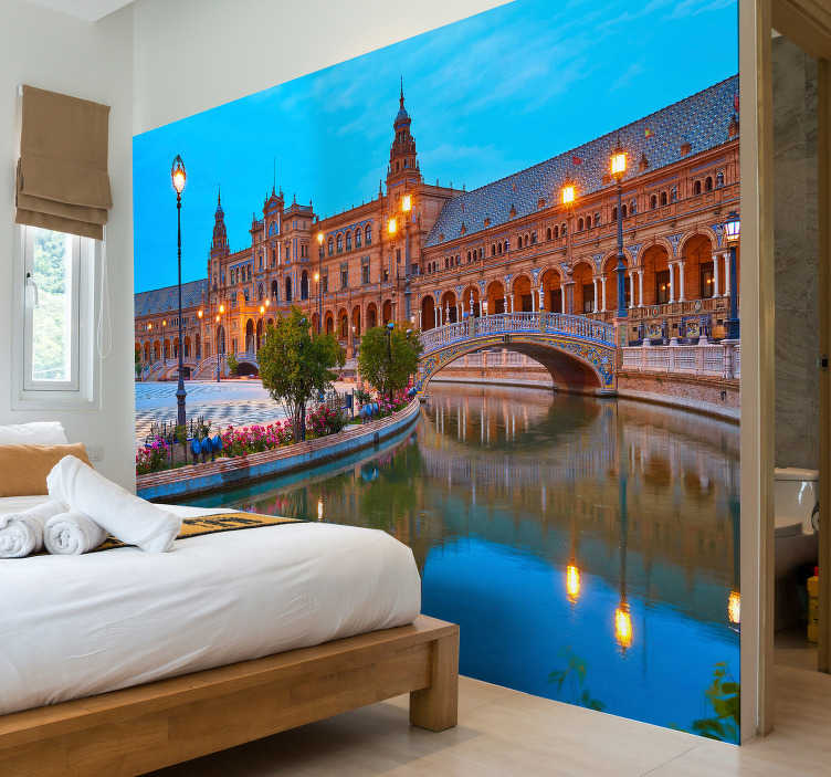TenStickers. Sevilla in the evening mural wallpaper. The beautiful colors of this scenery photo mural with Sevilla at night are impressive You can decorate every wall in your home with it.