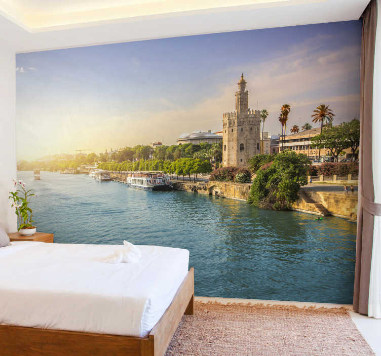 TenStickers. Sevilla river mural wallpaper. The beautiful city of Sevilla with it's rivers will be a great decoration for your walls at home. Whether it's your living room or the hallway!