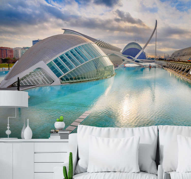 TenStickers. Valencia mural wallpaper. Get your favorite holiday destination into your home. With this photo mural of Valencia, the beautiful Spanish city will look fantastic on your walls!