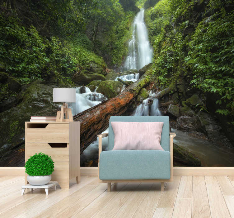 TenStickers. Waterfall Forest mural. This beautiful and calming image of a waterfall in the forest will be great in your home! We use materials of high quality, you won't be disappointed.